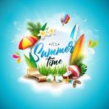 Vector typografische Illustration des Sommerzeit-Feiertags auf Weinleseholzhintergrund E Stockfoto