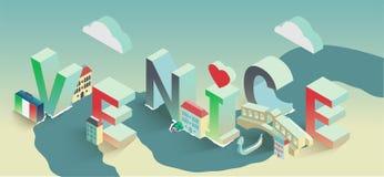 Vector typografische reisprentbriefkaar Venetië Stock Illustratie
