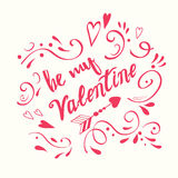 Vector typographic banner Be My Valentine calligraphy diagonal floral element for St. Valentines Day Royalty Free Stock Photography