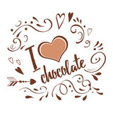 Vector typographic banner I love chocolate decorated abstract hand drawn ornament on brown chocalate colors Stock Image