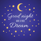 Vector typographic banner with text Have a nice dream. Wishing card witing card with moon and stars in yellow colors  Royalty Free Stock Photography