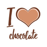 Vector typographic card I love chocolate on white Royalty Free Stock Photo