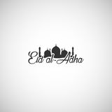 Vector typographic illustration of handwritten Eid Al Adha retro. Label. lettering composition of muslim holy month with mosque building Royalty Free Stock Images