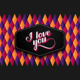 Vector typographic illustration of handwritten I love you retro label on the checkered geometric background. lettering Royalty Free Stock Image