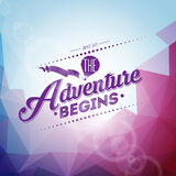 Vector typography design element for greeting cards and posters. And so the Adventure begins inspiration quote Stock Photos
