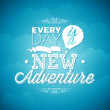 Vector typography design element for greeting cards and posters. Every day is a new adventure inspiration quote on blue sky  Stock Photos