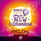Vector typography design element for greeting cards and posters. Every day is a new adventure inspiration quote on seascape backgr Stock Images
