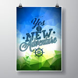 Vector typography design element for greeting cards and posters. Say yes to new adventures inspiration quote on abstract triangle Stock Photo