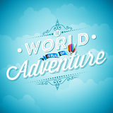Vector typography design element for greeting cards and posters. The World is full of Adventure inspiration quote on blue sky  Royalty Free Stock Photography