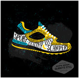 Vector typography poster with training shoes icon Stock Images