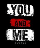 Vector typography you and me Royalty Free Stock Photo