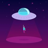 Vector ufo cartoon illustration in flat style Stock Photography