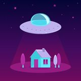 Vector ufo cartoon illustration in flat style Stock Photos