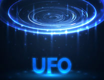 Vector UFO. Light in dark. Blue glowing. Space. Abstract alien. Background Stock Photo