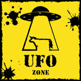 Vector ufo zone cow logo on yellow background Royalty Free Stock Photos