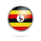 Vector Ugandan flag button. Uganda flag in glass button style. Royalty Free Stock Images