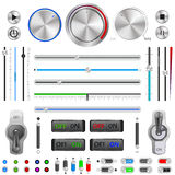 Vector UI Dials Set. Vector set of buttons and switches on a white background Royalty Free Stock Photography