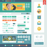 Vector UI elements for web and mobile. Flat design trend. Controls, buttons,icons and media player. Fitted to the pixel grid Stock Images
