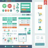 Vector UI elements for web and mobile. Flat design trend. Labels, buttons and icons. Fitted to the pixel grid Stock Photo