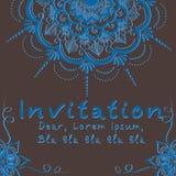 Vector uitnodigingskaart met bloemenelement Stock Afbeeldingen
