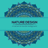 Vector uitstekend adreskaartje Mandala Design Sierkrabbelachtergrond Stock Illustratie