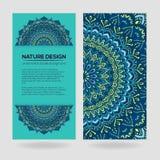 Vector uitstekend adreskaartje Mandala Design Sierkrabbelachtergrond Royalty-vrije Illustratie