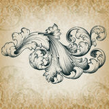 Vector uitstekend barok bloemenrolpatroon Stock Foto's