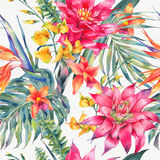 Vector uitstekend bloemen tropisch naadloos patroon Stock Afbeeldingen