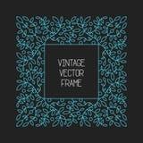 Vector uitstekend bloemenkader op zwarte achtergrond in mono dunne lijnstijl Stock Afbeelding