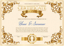 Vector uitstekend certificaat Stock Foto