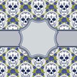 Vector uitstekend kader met schedels Stock Foto's
