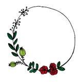 Vector uitstekende bloemen omhult Bloemen frame Stock Afbeelding