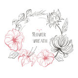 Vector uitstekende bloemenkroon Voor huwelijksuitnodigingen of embleem Gemakkelijk uit te geven royalty-vrije stock afbeelding