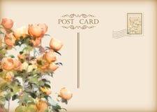 Vector Uitstekende Bloemenprentbriefkaar Stock Fotografie
