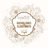 Vector Uitstekende Bruine het Huwelijksuitnodiging van de Kader Bloementekening Stock Foto's