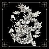 Vector uitstekende Chinese draakgravure Royalty-vrije Stock Afbeelding