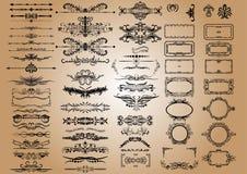 Vector Uitstekende Decoratieelementen Bloeit Kalligrafische Ornamenten en Kaders retro Inzameling van het Stijlontwerp royalty-vrije stock afbeeldingen