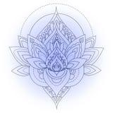 Vector uitstekende decoratieve lotusbloemillustratie Stock Foto