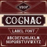 Vector uitstekende etiketdoopvont Cognacstijl Royalty-vrije Stock Foto