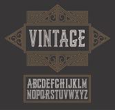 Vector uitstekende etiketdoopvont, moderne stijl De stijl van het whiskyetiket Royalty-vrije Stock Foto