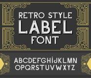 Vector uitstekende etiketdoopvont Retro stijl Stock Fotografie
