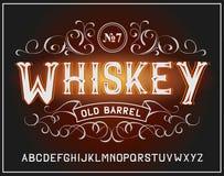 Vector uitstekende etiketdoopvont Whiskystijl Royalty-vrije Stock Afbeeldingen