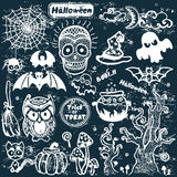 Vector uitstekende Halloween-reeks pictogrammen Royalty-vrije Stock Fotografie