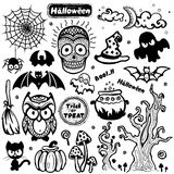 Vector uitstekende Halloween-reeks pictogrammen Royalty-vrije Stock Afbeelding