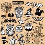 Vector uitstekende Halloween-reeks pictogrammen Stock Foto's