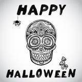 Vector uitstekende Halloween-schedelillustratie Stock Fotografie