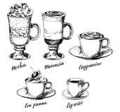 Vector uitstekende hand getrokken geplaatste koffietypes royalty-vrije illustratie