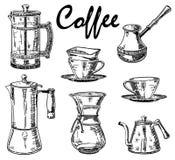 Vector uitstekende hand getrokken koffiereeks stock illustratie