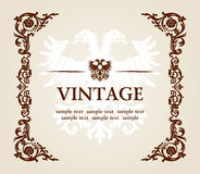Vector uitstekende heraldische keizerframe adelaar Stock Fotografie