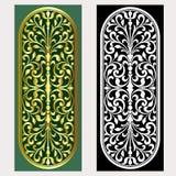 Vector uitstekende het embleemgravure van het grenskader met retro ornamentpatroon in het antieke decoratieve ontwerp van de roco Stock Fotografie